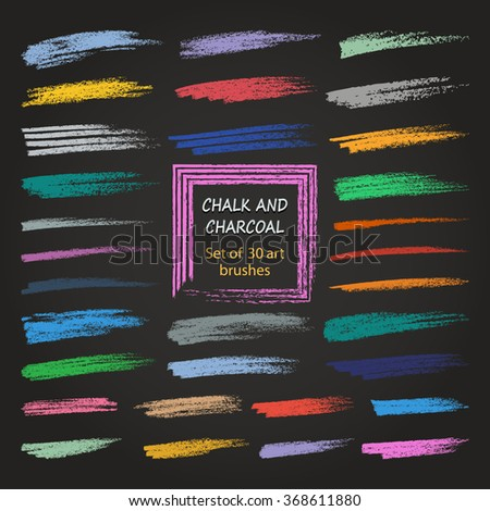 Vector brush strokes. Chalk and charcoal. Vintage texture of different densities. Saved palette file brushes.   - stock vector