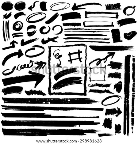 Vector brush strokes set  - stock vector