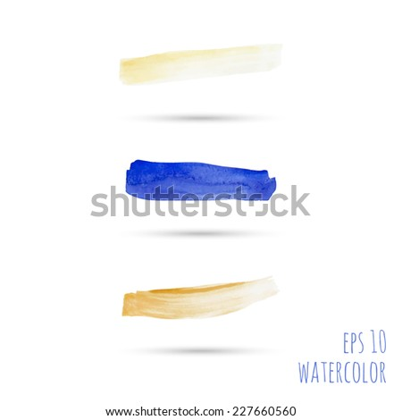 Vector brush strokes. template for  banner, layout in perfumes, cosmetics, cosmetology,  delicate feminine style, visual advertising, place or space for text. pastel. blue, yellow, sand - stock vector