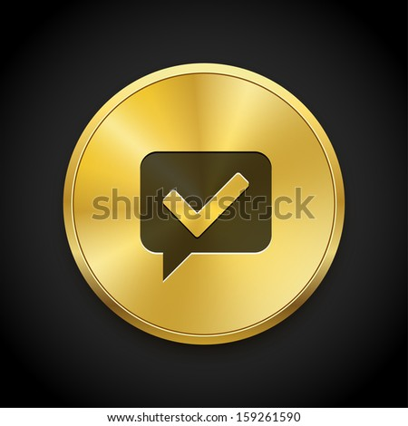 Vector brushed golden round ok / check button. Vector metal button.  - stock vector