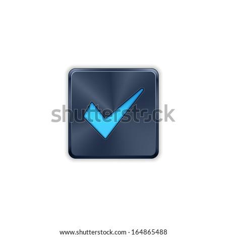 Vector brushed metal ok / check button. Vector metal button.  - stock vector