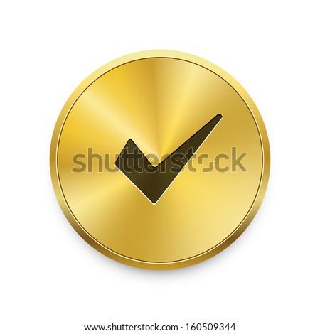 Vector brushed metal round ok / check button. Vector golden button.  - stock vector