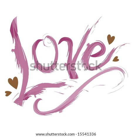 Vector brushstroke love graphic with hearts - stock vector