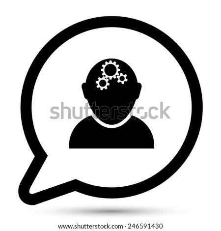 Vector bubble with thinking icon - stock vector