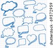 Vector bubbles for speech. Seamless doodle background. - stock photo