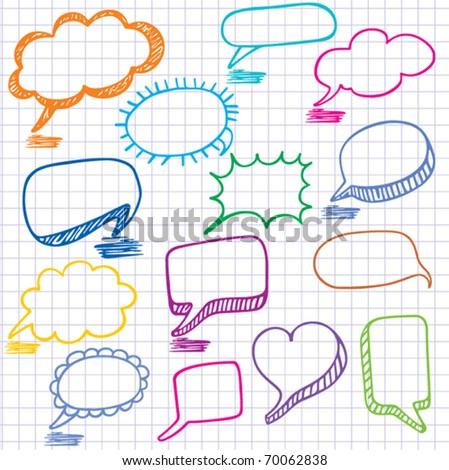 Vector bubbles for speech. Seamless doodle background. - stock vector