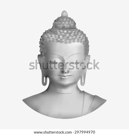 Vector Buddha face isolated on white background - stock vector