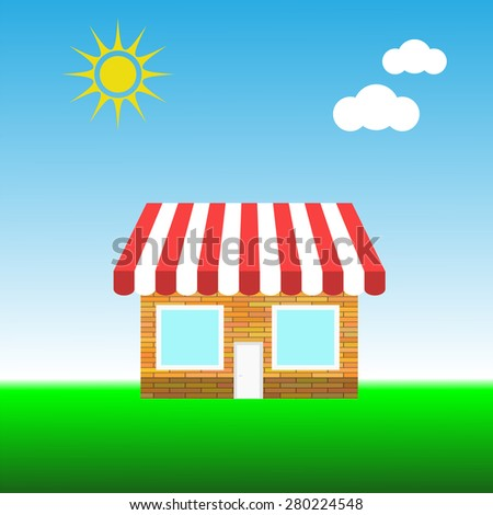 Vector Building a Small Shop on Blue Sky Background - stock vector