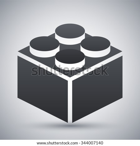 Vector building block icon - stock vector