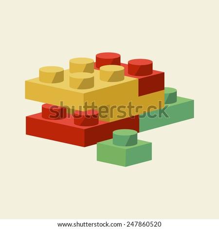 Vector Building Blocks Flat Illustration - stock vector