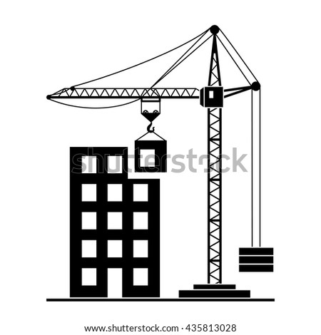 Vector Building Construction With Crane On White Background