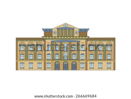 Vector Building Facade. Historical mansion viewed from front elevation on white background. - stock vector
