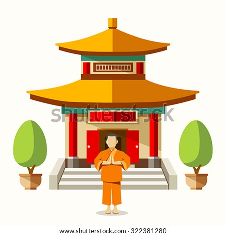 Vector Building of China with china monks background, illustrations - stock vector