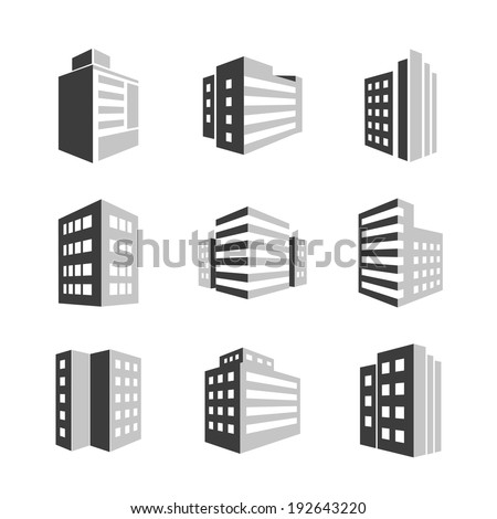 Vector Buildings icons 3d isolated on white background - stock vector