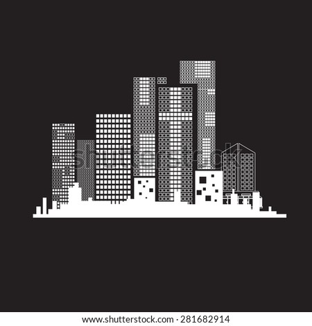 vector buildings on white background