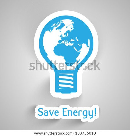 Vector bulb Earth paper illustration to save energy - stock vector