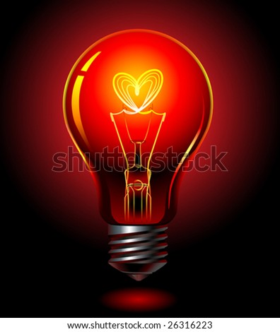 vector bulb, love concept - stock vector