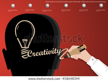Vector bulb of an idea of a businessman with hands, magic pen, business icon, flat design.