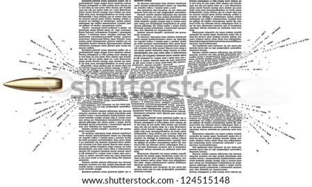 Vector bullet flies through of newspaper columns. All text in newspaper page unreadable - stock vector