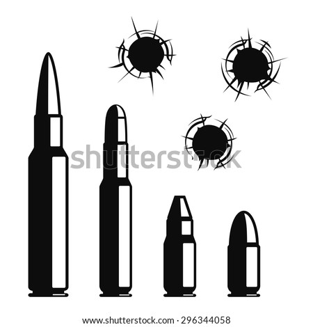 Vector bullet holes set. Violence and crime, gunshot and military, hit and ammunition illustration - stock vector