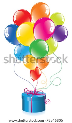 vector bunch of colorful balloons and a gift box - stock vector