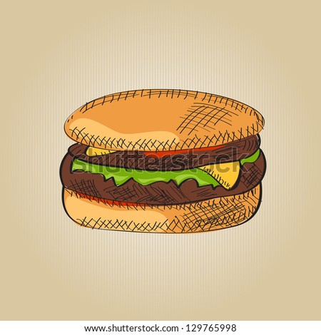 Vector burger - stock vector