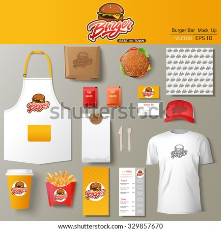 Vector burger bar corporate identity template stock vector for Food bar mockup