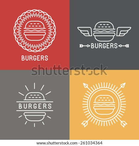 Vector burger logo design elements in linear style - emblems and badges for fast food - stock vector