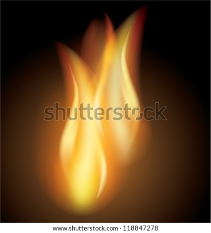 Vector burn flames fire dark background, made with mesh - stock vector