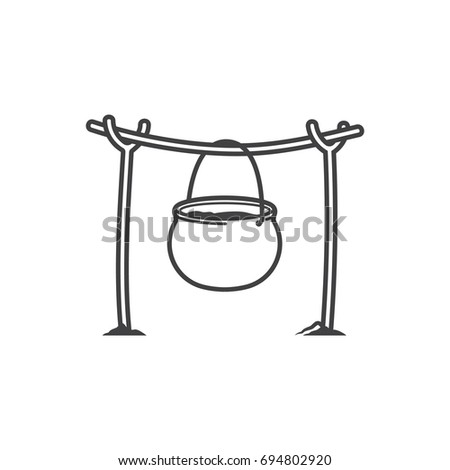Vector Burning Campfire With Kettle Isolated On White Background Cooking Over A