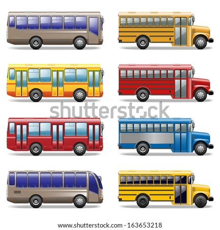 Vector Bus Icons - stock vector