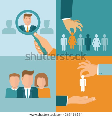 Vector business and employment concepts in flat style - illustrations and icons related to human resources theme  - stock vector