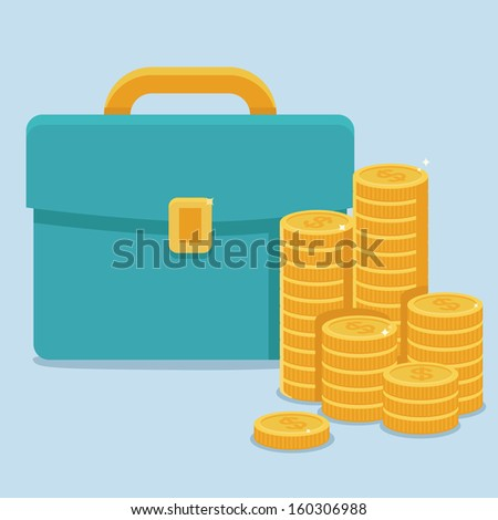 Vector business and finance concept in flat style - coins and portfolio - stock vector
