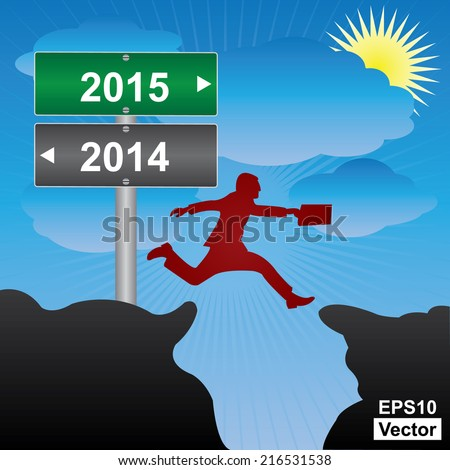 Vector : Business and Finance Concept Present By Jumping Through The Valley Gap With Green and Gray Street Sign Pointing to 2014 and 2015 in Blue Sky Background - stock vector