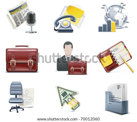 Vector business and office icons - stock vector