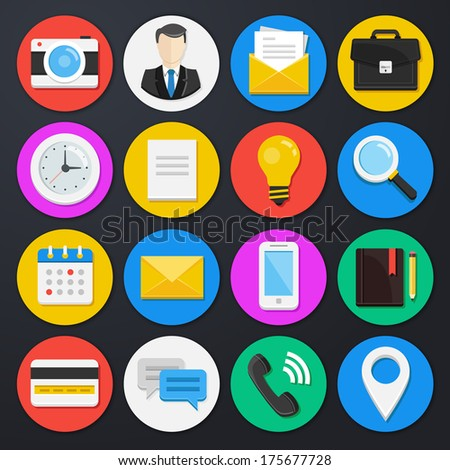 Vector Business and Office Icons Set 1 - stock vector