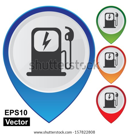 Vector : Business and Service Concept Present By Colorful Glossy Style Map Pointer With Electromobile Charge Station Sign Isolated on White Background - stock vector