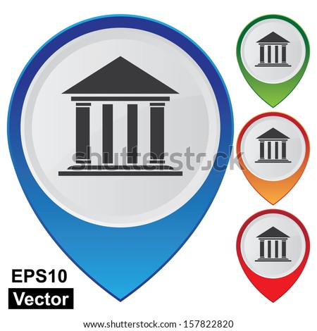 Vector : Business and Service Concept Present By Colorful Glossy Style Map Pointer With Official Place, Church, Bank, Institute, Library, Opera House or Theater Sign Isolated on White Background - stock vector