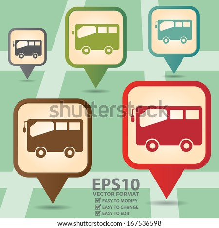 Vector : Business and Service Concept Present By Colorful Vintage Style Map Pointer Icon With Bus, Bus Stop or Bus Rental Service Sign in POI Map Background - stock vector