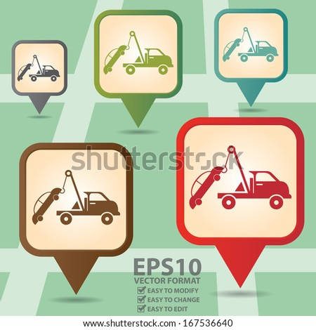 Vector : Business and Service Concept Present By Colorful Vintage Style Map Pointer Icon With Tow Car Service Sign in POI Map Background - stock vector