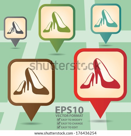 Vector : Business and Service Concept Present By Colorful Vintage Style Map Pointer Icon With Women Shoes, High-Heeled Shoes or Fashion Shop Sign in POI Map Background  - stock vector