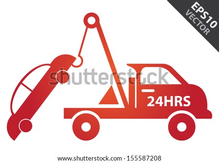 Vector : Business and Service Concept Present By Red Glossy Style 24HRS Tow Car Sign Isolated on White Background - stock vector