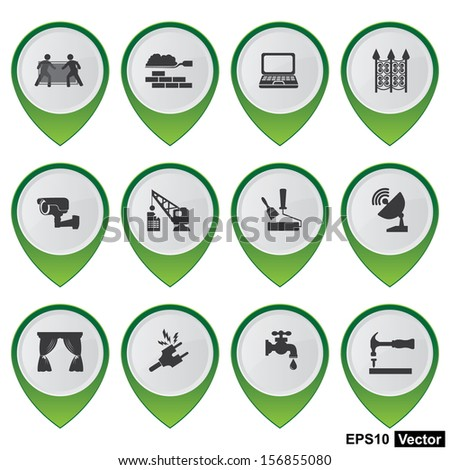 Vector : Business and Service Concept Present By Set Of Green Glossy Style Map Pointer With Home Service Sign Isolated on White Background  - stock vector