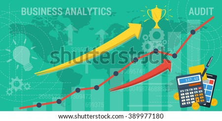 Vector business background. Concept improvement, analytics, taxes, company or earnings growth. Arrows shows growth and abstract lines and transparent elements. Flat style. Web infographic - stock vector