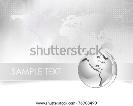 Vector business background with globe and world map - abstract light grey and white corporate design - elegant business brochure and business card concept - eps10 - stock vector