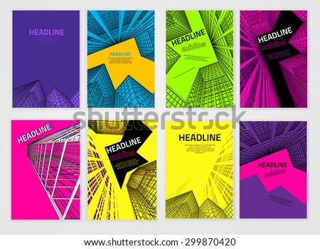 Vector business brochure cover template. Modern backgrounds for poster, print, flyer, book, booklet, brochure and leaflet design. Editable graphic collection in violet, orange, blue and black colors - stock vector