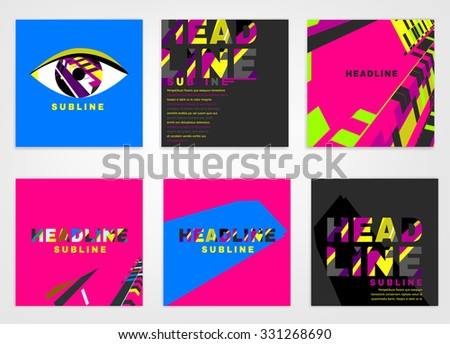 Vector business brochure cover template. Modern backgrounds for poster, print, flyer, book, booklet, brochure and leaflet design. Editable graphic collection in violet, blue, pink and black colors - stock vector