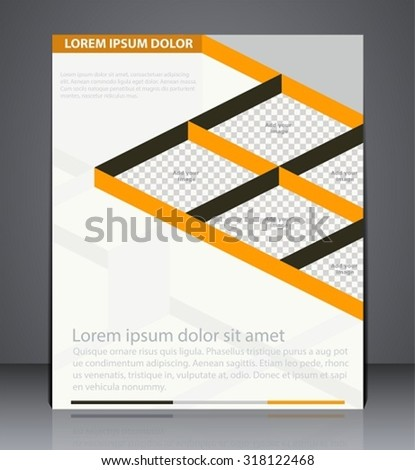 Vector business brochure flyer design. Layout design isometric cover in yellow colors with inserts for photo - stock vector