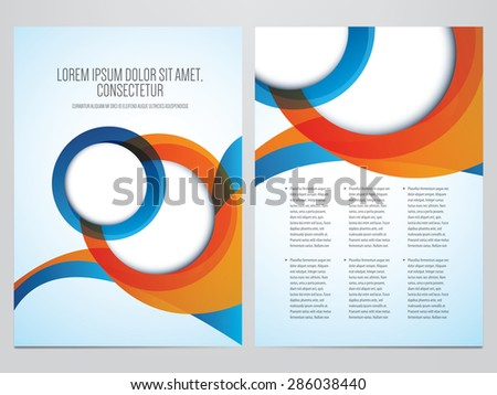Vector business brochure, flyer template. Modern blue and orange corporate design. - stock vector