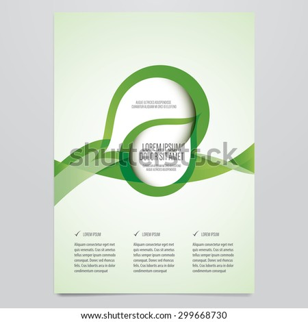 Vector business brochure, flyer template. Modern green corporate design. - stock vector